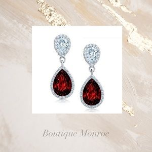 18k White Gold Red Sapphire Crystal Earrings